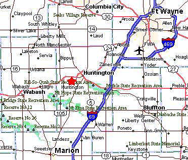 Map Location of Zahm Trailer Sales - Huntington, Indiana